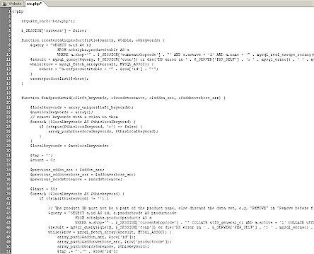 Bildschirmfoto auszug aus dem quellcode